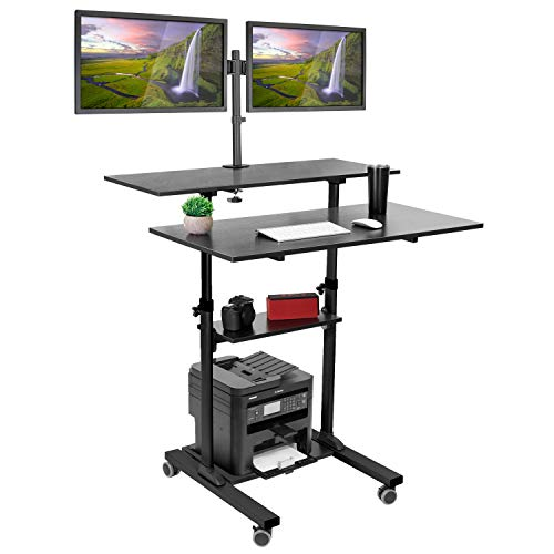 Mount-It! Mobile Standing Desk with Dual Monitor Mount – 40 Inch Wide Height Adjustable Rolling Computer Workstation with Four Wheels, Black