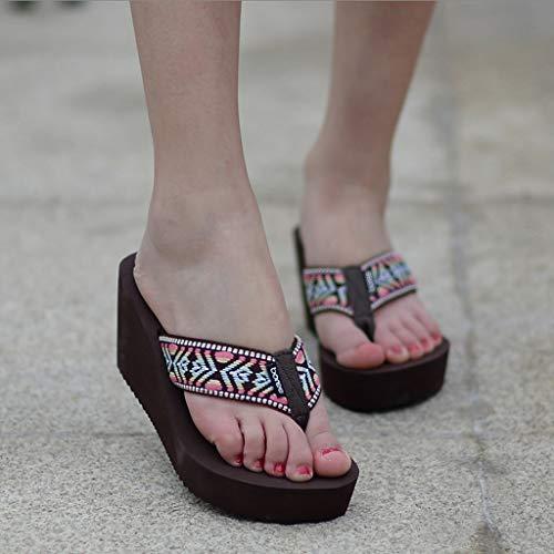 Da Sandali colore Aminshap Estivi Euro Antiscivolo Blu Spiaggia Femminili Scarpe Pantofole Dimensioni Grosse Con Marrone Piattaforma Infradito Modelli Le 35 dvq6nwI