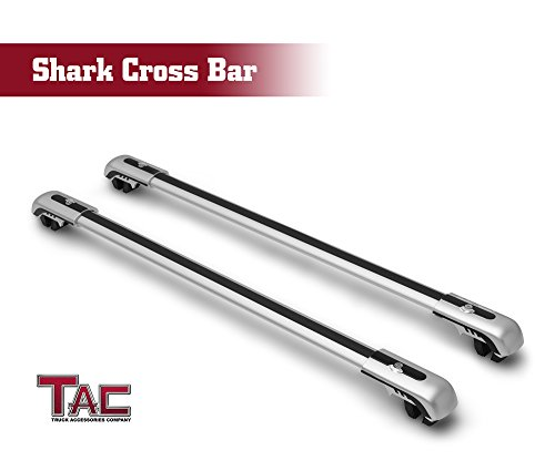 TAC Universal Shark Aluminum Roof Top Rail Rack Cross Bars with Lock System for Snowboard Kayak Canoe Luggage Carrier Truck Pickup SUV Off Road Exterior Accessories (2 Pieces Cross Bars)(Large Size)