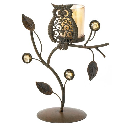 Gifts & Decor Wise Owl Ornamental Vine Leaf Votive Candleholder Stand