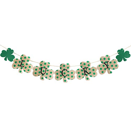 Lucky Burlap Banner - St Patrick's Day Decorations