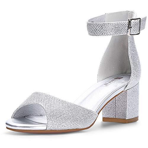 IDIFU Women's Candie Low Block Heels Sandals Peep Toe Chunky Ankle Strap Wedding Dress Shoes