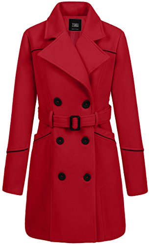 Double Breasted Belt - ZSHOW Women's Double Breasted Lapel Wrap Coat with Belt X-Large Red