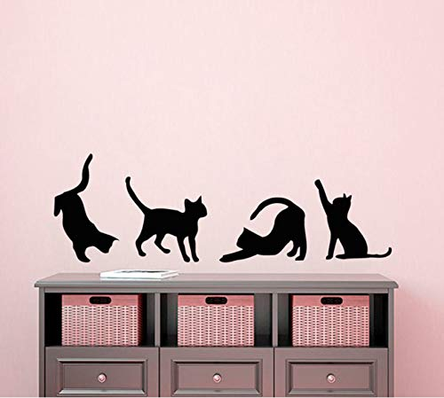Dalxsh Four Cats Silhouettes Art Wall Sticker Small
