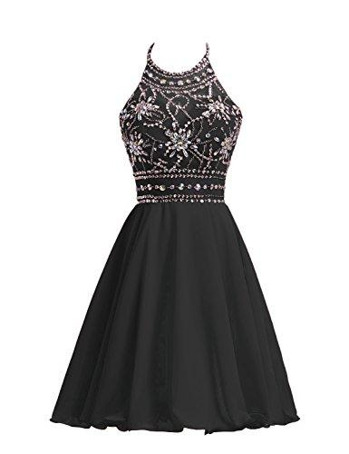 Belle House Women's Short Beaded Prom Dress Halter Homecoming Dress Backless Black ()