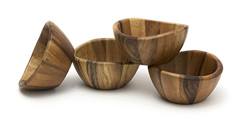 (Lipper International Wave Bowls (Set of 4), Brown)