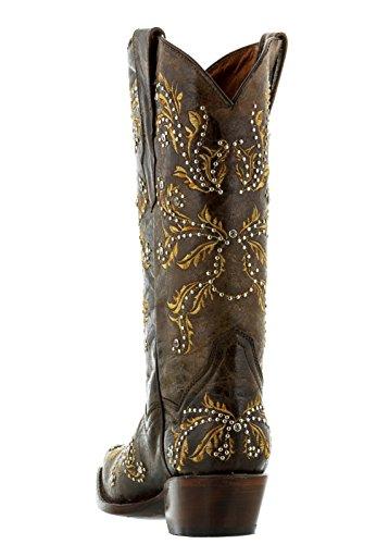 Stivali Da Cowboy In Pelle Ricamata Marrone Da Donna Professionale Da Cowboy Marrone Marrone Alternati