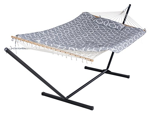 SUNCREAT Cotton Rope Hammock with 12 Foot Steel Stand, Includes Pad and Pillow, iPad Bag and Cup Holder-Grey - Multifunctional hammock made of 100% cotton natural ropes; Polyester pad and pillow, easy to assemble or disassemble Rust resistant and high strength steel hammock stand can adjust its height by the chain. Set Includes: 12 foot steel hammock stand, cotton rope hammock, weather-resistant hardware, polyester sleeping pad,pillow,iPad holder and cup holder - patio-furniture, patio, hammocks - 41W22K3JWQL -