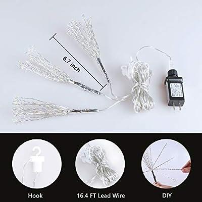 "EAMBRITE 3PK 8"" Diameter LED Hanging Starburst Twig Light with 180 Warm White Mini Led Lights for Christmas Tree Decorative Home Xmas Wedding"