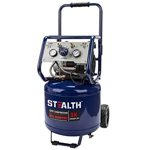 Stealth 12 Gallon Ultra Quiet Air Compressor, 1.5 HP Oil-Free Peak 150 PSI 68 Decibel Air Pump, 4 CFM @ 90 PSI, Long…