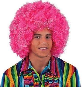 Lote/Conjunto de 6 Piezas - Afro Peluca Gigante Chico de Color Rosa