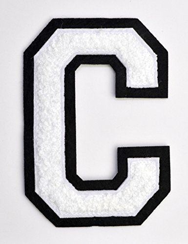 Varsity Letter Patches - White Embroidered Chenille Letterman Patch - 4 1/2 inch Iron-On Letter Initials (White, Letter C Patch)