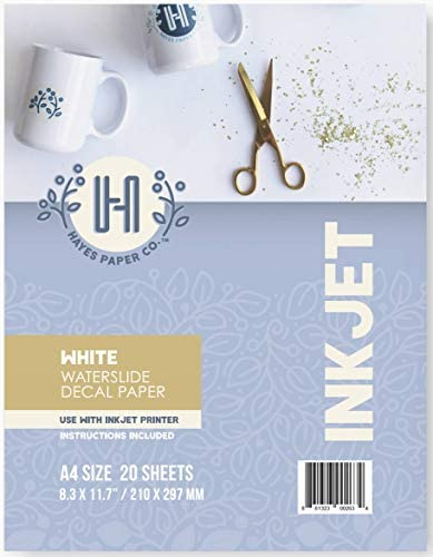 Hayes Paper Co. Waterslide Decal Paper Inkjet WHITE - Decal Paper for Inkjet Printer - A4 Water Transfer Paper, 20 Sheets (8.5 x 11)