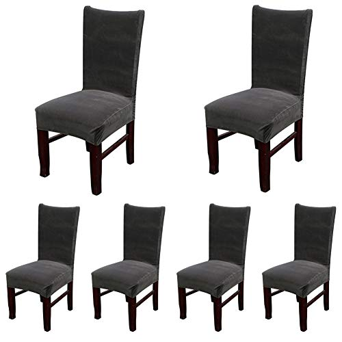 Smiry Velvet Stretch Dining Room Chair Covers Soft Removable Dining Chair Slipcovers Set of 6, Dark Grey