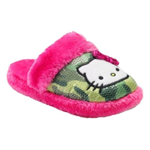 Womens Plush Green Cammo Sequin & Pink Faux Fur Hello Kitty Slippers Small 5-6 86L4CIc