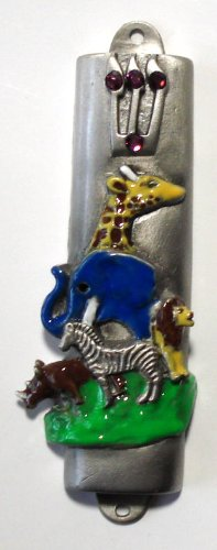 Pewter and Epoxy Mezuzah - Noah's Ark - Made with Swarovski Crystals - Comes with a Kosher Mezuzah Scroll