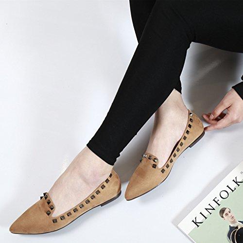 Azbro Mujer Zapatos Planos Remache con Puntera Punta Verde