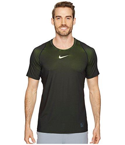 Nike Mens Pro Colorburst Fitted T-Shirt (Volt/Bright Cactus, L) (And Volt Shirt Black)
