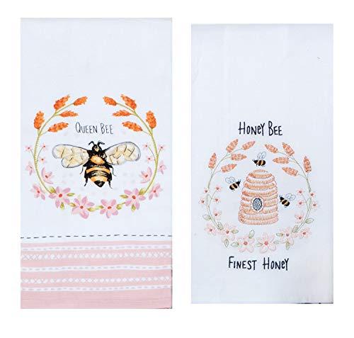 Kay Dee 2 Piece Honey Queen Bee Pink Floral Dish Towel Bundle