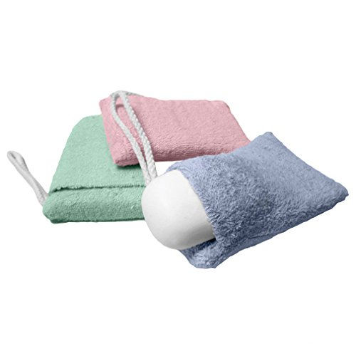 Price comparison product image Evelots Terry Cloth Soap Holder, Soap on a Rope, Soap Saver, Set of 3