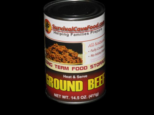 Sodium Ham Low (Survivalcavefood Ground Beef - 14.5 oz can - 1 Can)