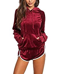 Akmipoem Women's Two Piece Set Long Sleeve Hoodie Sweatshirt and Short Tracksuit