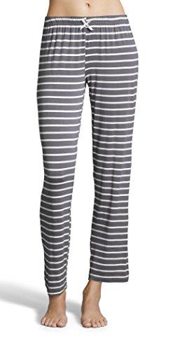 Kathy Ireland Womens Pajama Lounge Pants With Elastic Waistband And Decorative Bow Charcoal Large