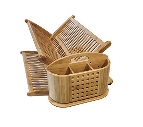 Eco Friendly Large Collapsable Bamboo Dish Drying Rack with FREE Detachable and Breathable Utensil Holder - ORGANIZE your kitchen counter space with this LARGE and beautiful modern bamboo dish rack Multiple levels for your entire families plates, bowls, cups and mugs. Large enough for 10 inch dinner plates with extra room for medium and even large pots and pans! INCLUDES FREE detachable, breathable utensil holder for forks, knives and spoons - laundry-room, entryway-laundry-room, drying-racks - 41W24bXHgDL -