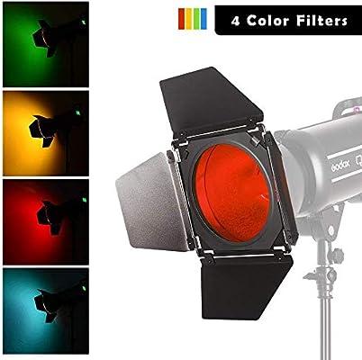 TPOTOO 96mm Universal Mount Metal Bardoor Barn Door Barndoor with Honeycomb Grid 4pcs Color Gel Filters for Neewer Godox 180W 250W 300W Andoer MD-250 MD-300 Studio Strobe Flash Light Monolight