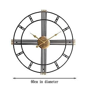 Wall clock Reloj Grande 50 cm Esqueleto Negro Metal Reloj de Pared de jardín 1 AA batería Sala de Estar Comedor 2