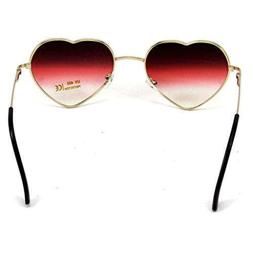 mujer las Gafas corazón gran de forma tamaño lindo VANKER gafas de para en manera Rojo de de grande Gafas sol 1X UFYx8w
