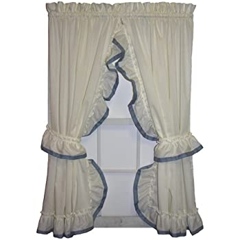 Lucy Country Style Ruffle Priscilla Curtains Pair 86 Inch By 72