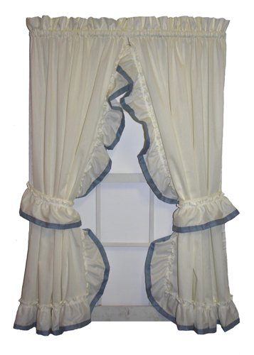 Lucy Country Style Ruffle Priscilla Curtains Pair 86-Inch-by-72-Inch - 1 1/2 Inch Rod Pocket, ()