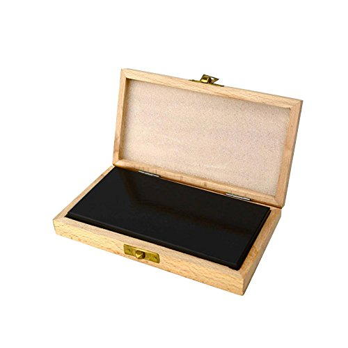6 x 3 x 1/2 Natural Testing Stone Set for Acid Test Solutions Gold Silver Platinum Purity Karat Value w/Wooden Box Case PMC Supplies TEST-0021