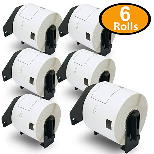 BETCKEY - 6PK Compatible Brother DK-1202 Shipping Labels 62mm x 100mm(2-3/7 x 4) [1800 Labels With 6 Refillable Cartridge]