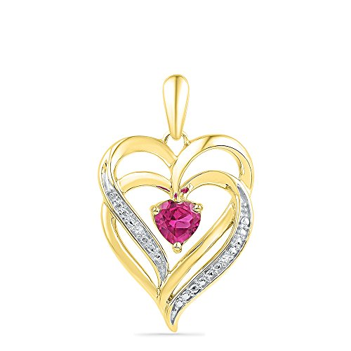 Jewel Tie 925 Sterling Silver Yellow Gold-Plated Heart Round Pink Simulated Sapphire And White Diamond Prong Set Halo Solitaire Pendant (.01 cttw.) ()
