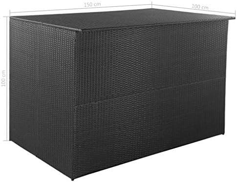 Tidyard- Caja de almacenaje jardín 150x100x100 cm ratán sintético Negro: Amazon.es: Bricolaje y herramientas