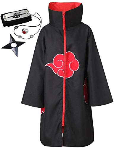 Angelaicos Unisex Halloween Cosplay Costume Uniform Cloak with Headband (L, Cloak with Stand Collar) (Naruto Orochimaru Cosplay Wig)