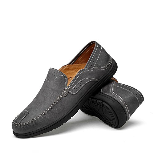 Goma los para Hollwo 2018 Loafers 37 Vamp Suave Suela on Barco Penny de de Slip Color Hombre Hombres Mocasines Mocasines Gray Conducción Hongjun EU Patch shoes Gris tamaño Casual tqwTHT
