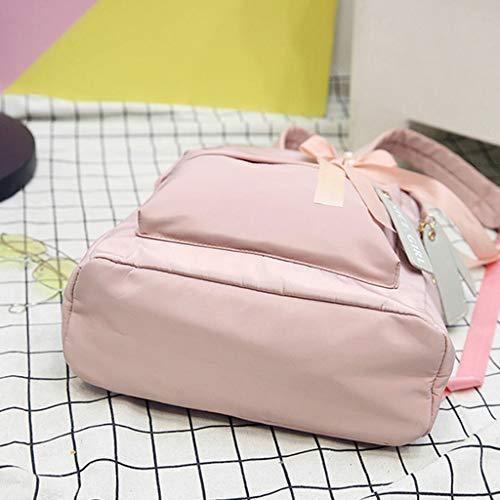Mochila Viaje Rosa Lazo Mochila Nylon Xuniu de con Impermeable Pink de Escolar xTEqWwp