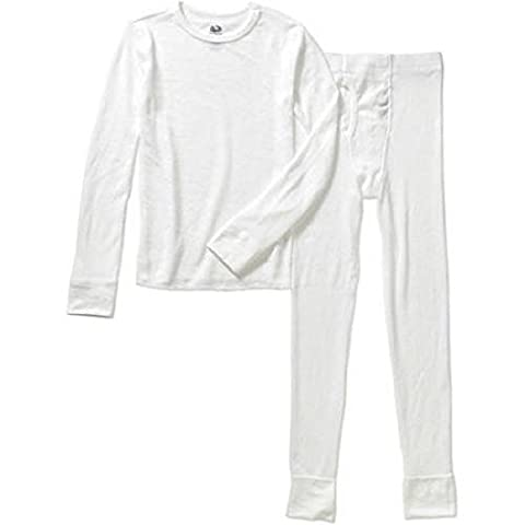 Fruit of the Loom Boys Waffle Thermal Underwear Top and Bottom Set Arctic White L (10-12)