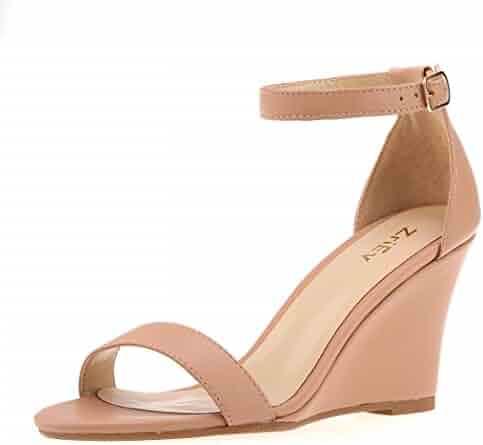 2e8361bc7e581 ZriEy Women's Ankle Strap Buckle Mid Wedge Platform Heeled Sandals 8CM  Summer Dress Sandals Pump Shoes
