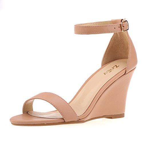 ZriEy Women's Ankle Strap Buckle Mid Wedge Platform Heeled Sandals 8CM Summer Dress Sandals Pump Shoes Nude Size (Buckle Strap Platform Wedges)
