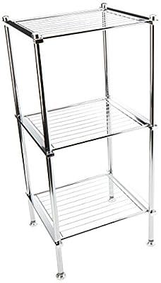 Organize It All 3 Tier Chrome Freestanding Bathroom Storage Shelf