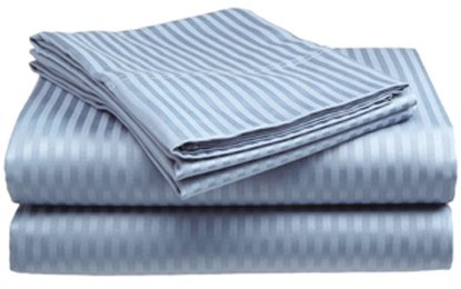 Twin Size 400 Thread Count 100% Cotton Sateen Dobby Stripe Sheet Set -Light Blue