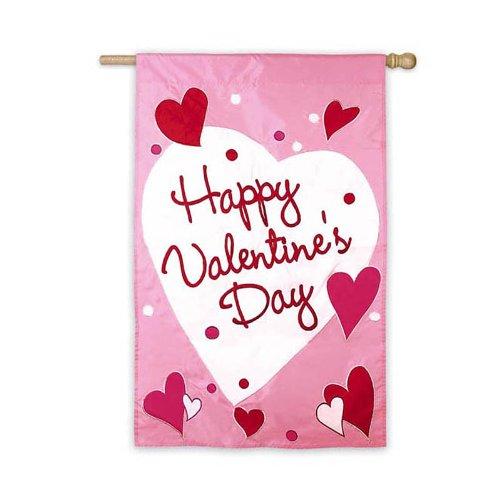 Happy Valentines Day Applique Flags (Happy Valentine's Day Regular Size Applique Flag)