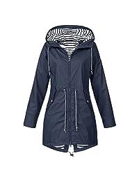 WYTong Newest! Women's Solid Rain Coat Waterproof Outdoor Hooded Rain Jacket Windproof Zipper Outerwear