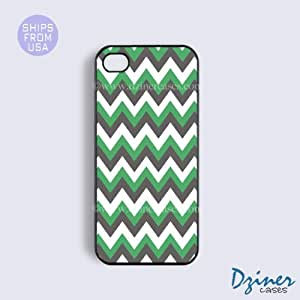 iPhone 4 4s Case - Green Grey White Chevron iPhone Cover