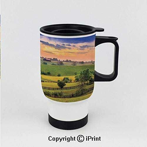 Stainless Steel Vacuum Insulated car cup,Picture of Rural Pastoral Meadows with Fences Surreal Countryside Print,Stainless Steel Travel Car Cup for Best Gift ()