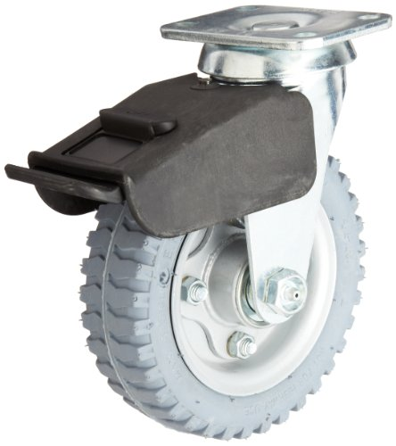 E.R. Wagner Pneumatic Plate Caster, Swivel with Total-Lock Brake, Soft Rubber on Steel Wheel, Ball Bearing, 200 lbs Capacity, 6